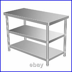 3 Layer Stainless Steel Working Table 24x60 Commercial Kitchen Food DiningRoom