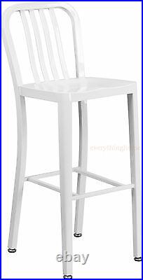 30 High White'Navy' Style Bar Stool Cafe Patio Chair In-Outdoor Commercial Use