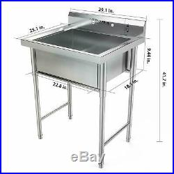 30 Stainless Steel Utility Commercial Square Kitchen Sink for Restaurant Home