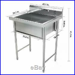 30 Stainless Steel Utility Commercial Square Kitchen Sink for Washing Room New