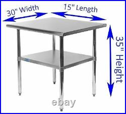 30 X 15 Stainless Steel Kitchen Work Table Commercial Restaurant Food Prep