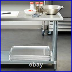 30 X 48 Stainless Steel Work Prep Table Commercial Kitchen Undershelf with Casters
