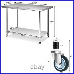30 x 48 Stainless Steel Commercial Kitchen NSF Prep & Work Table on 4 Wheels
