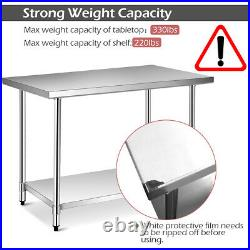 30 x 48 Stainless Steel Commercial Kitchen NSF Prep & Work Table with 4 Casters