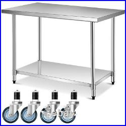 30 x 48 Stainless Steel Commercial Kitchen NSF Prep & Work Table with 4 Wheels