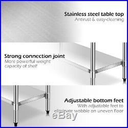 30 x 48 Stainless Steel Food Prep & Work Table Commercial Kitchen Home Silver