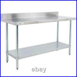 30 x 72 Stainless Steel Commercial Kitchen Work Prep Table with 4 Backsplash