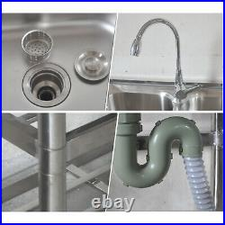 304 Stainless Steel Commercial Kitchen sink 2-Bowls Utility Sink With Drainboard