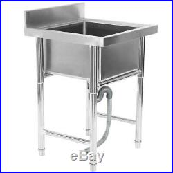 304 Stainless Steel Utility Sink for Commercial Kitchen Square Sink 23.5 Wide