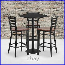 30in Round Bar-Height Table and 3-Pc Stool Set- Black Tabletop/Cherry Wood Seat