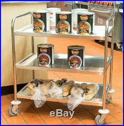 33 x 21 x 37 Stainless Steel Commercial Three 3 Shelf Utility Kitchen Cart