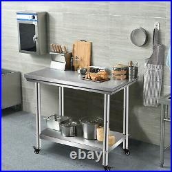 35.4 x 23.6 Stainless Steel Food Prep & Work Table Commercial Kitchen Table