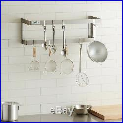 36 Wall Mount Commercial Kitchen Stainless Steel Double Pot Pan Rack 18 Hooks