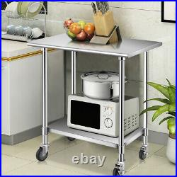 36 x 24 NSF Stainless Steel Commercial Kitchen Prep & Work Table on 4 Casters