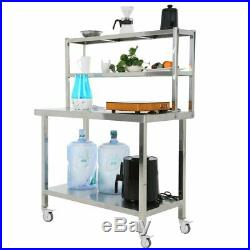 36 x 90 Stainless Steel Commercial Kitchen Prep Table with Two Shelf US MX
