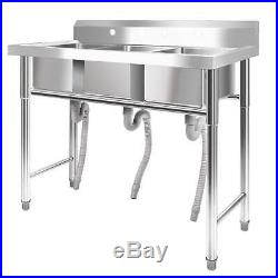 39 Stainless Steel 1/3 Compartment Wide Commercial Bar Sink Kitchen Sinks New