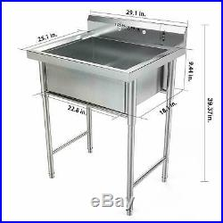 39 Stainless Steel Utility Commercial Square Kitchen Sink for Washing Room USA