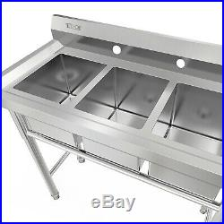 39 Wide 3 Compartment Stainless Steel Commercial Bar Sink Kitchen Sink Silver