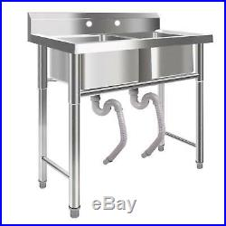 39 Wide Stainless Steel Bar 2 Compartment Sink Kitchen Outdoor Commercial USA