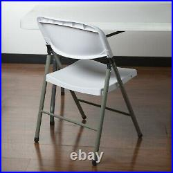 (4) 60 Round White Banquet Hall Plastic Folding Tables with 32 Folding Chairs