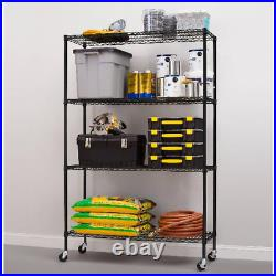 4-Shelf Commercial Grade Wire Shelving 18Dx48Wx75H with casters Black