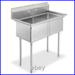 41'' Freestanding Stainless Steel 2-Compartment Commercial Kitchen Sink GRIDMAN