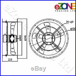450mm Industrial Duct Fan Cased Axial Commercial Kitchen Canopy Extractor