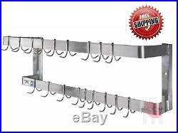 48 Wall Mount Commercial Kitchen 18 Hooks Stainless Steel Double Pot Pan Rack