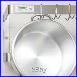 48 Wall Mount Commercial Kitchen Stainless Steel Double Pot Pan Rack 18 Hooks