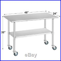 48 x 24 Commercial Stainless Steel Kitchen Prep Work Table with 4 Casters NSF