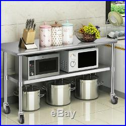 48 x 24 NSF Stainless Steel Commercial Kitchen Prep & Work Table on 4 Casters