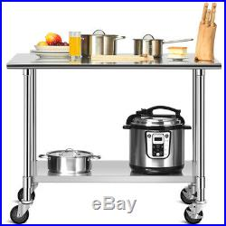48 x 24 NSF Stainless Steel Commercial Kitchen Prep & Work Table with 4 Casters
