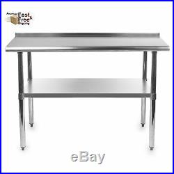 48x24 Kitchen Prep Work Table Stainless Steel Commercial Heavy Duty Backsplash