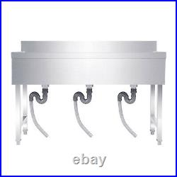 53 NSF Stainless Steel Utility Sink 3 Compartment Commercial Kitchen Sink US