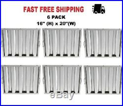 6 PK 16 H x 20 W Stainless Steel Hood Filter Commercial Grease Exhaust Kitchen