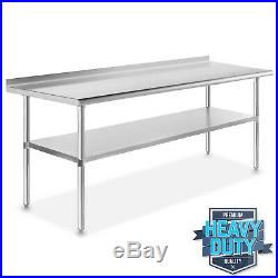 72 x 24 Stainless Steel NSF Commercial Kitchen Prep Work Table with Backsplash