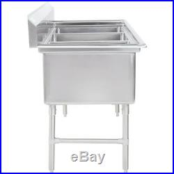 81 3-Compartment Stainless Steel Commercial Restaurant Kitchen Pot and Pan Sink