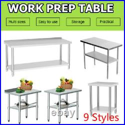 9 Styles Stainless Steel Work Prep Table Station Commercial Kitchen Restaurant