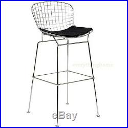 Bertoia Wire Bar Stool Chrome 30.5 Hgt Blk White Pad Commercial Grade 331 Lbs