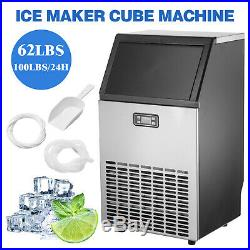 Built-in Commercial Ice Maker Stainless Steel Kitchen Ice Cube Machine Silver