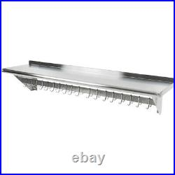 CMI 15x60 Commercial Kitchen Stainless Steel Wall Pot Rack with Shelf 18 Hooks