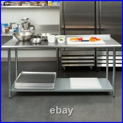CMI 24x72 Stainless Steel Commercial Kitchen Pre Work Table with 2Rear Upturn