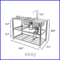 Catering Sink Commercial Stainless Steel Kitchen Double Bowl Drainer Unit & Tap