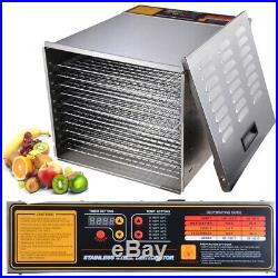 Commercial 10 Tray Food Dehydrator Stainless Steel Dry Fruit Kitchen Appliances