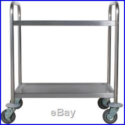 Commercial 16 x 28 Stainless Steel 2 Two Shelf Utility Kitchen Bus Cart 220 lb