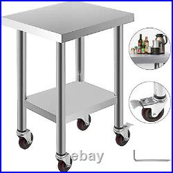 Commercial 18x24Stainless Steel Work Prep Table With 4 Wheels Kitchen