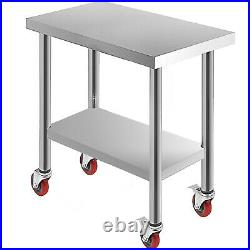 Commercial 18x30Stainless Steel Work Prep Table With 4 Wheels Kitchen