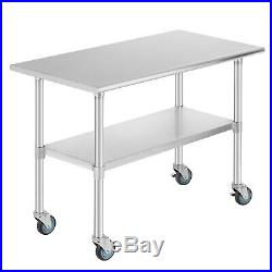Commercial 24 x 48 Stainless Steel Kitchen Prep Work Table with 4 Casters NSF