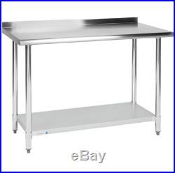 Commercial 24 x 48 Stainless Steel Work Prep Table With Backsplash Kitchen NSF