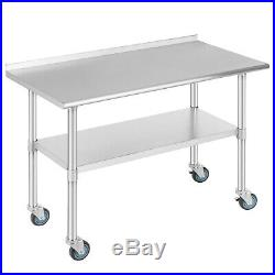 Commercial 24x48 Stainless Steel Kitchen Prep Work Table with4 Caster Backsplash